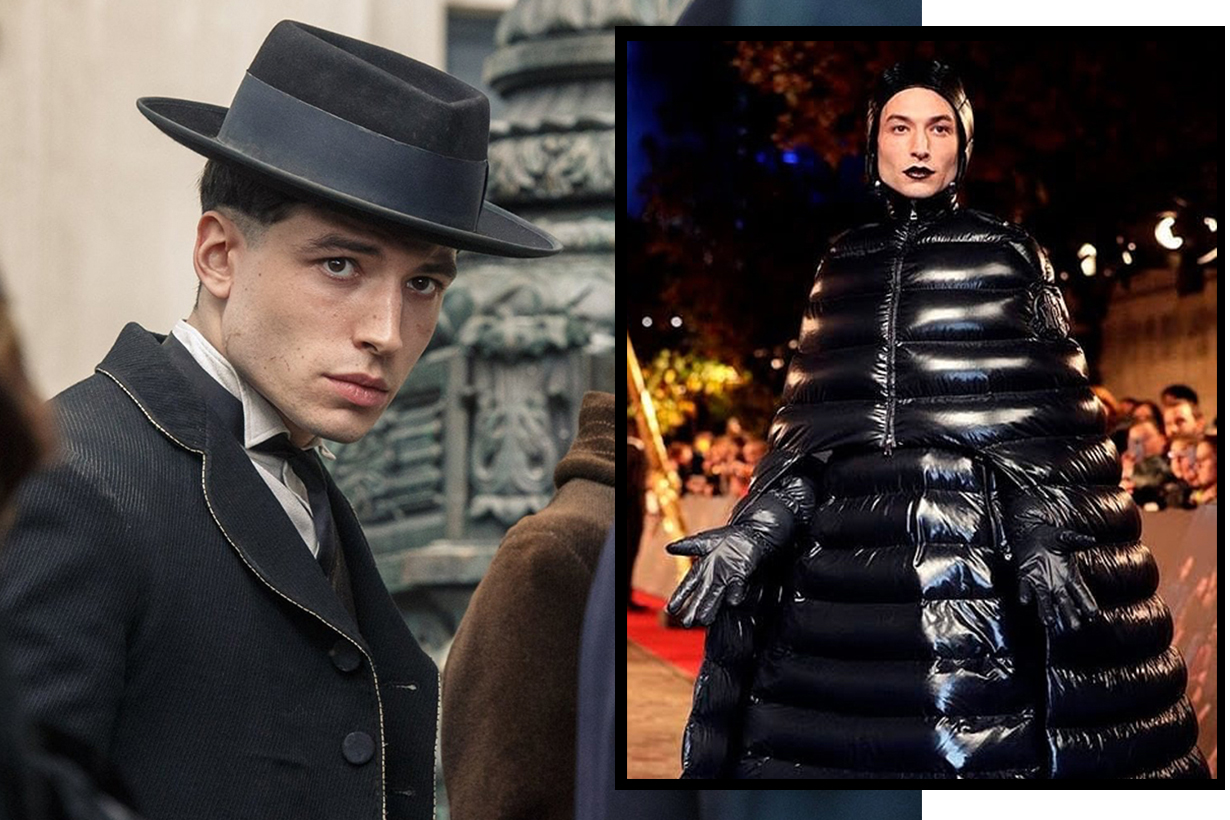 Ezra Miller wear Moncler for the Fantastic Beasts: The Crimes Of Grindelwald premier in Paris