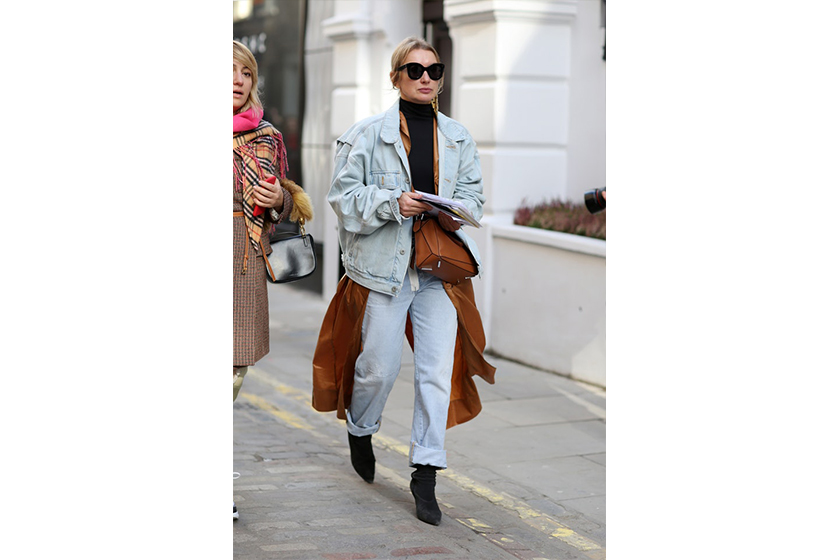Double Denim Denim Jacket Baggy Jeans Street Style
