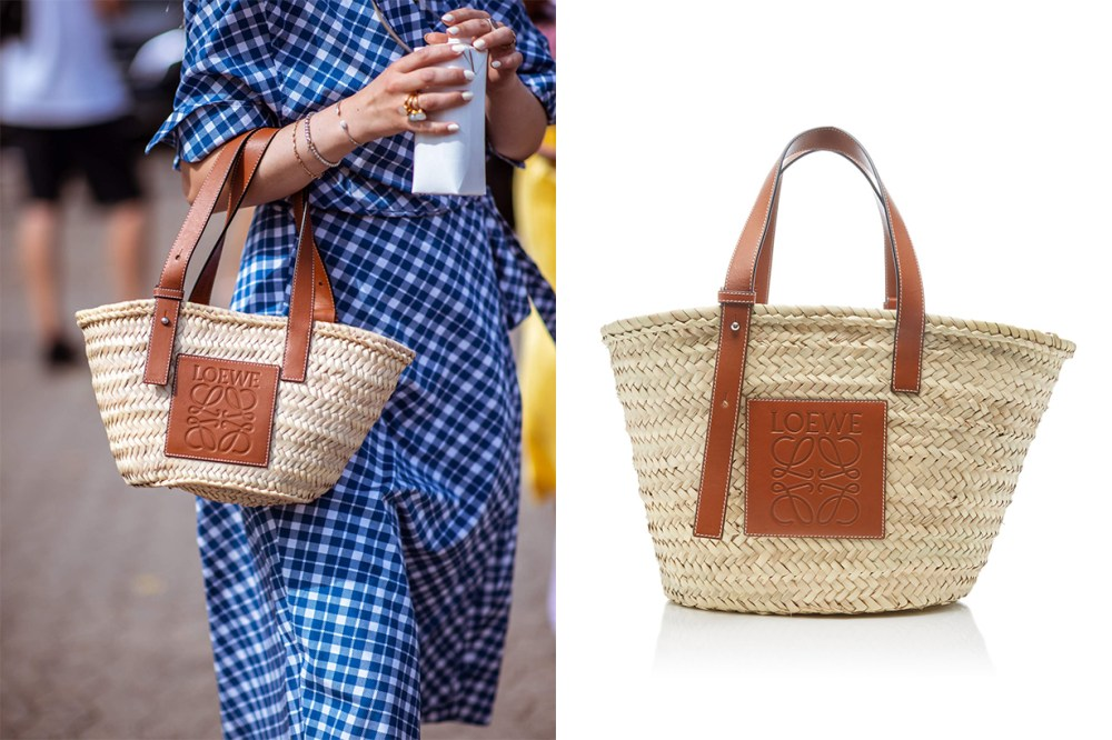 Loewe Leather Trimmed Woven Raffia Tote Street Style It Bag