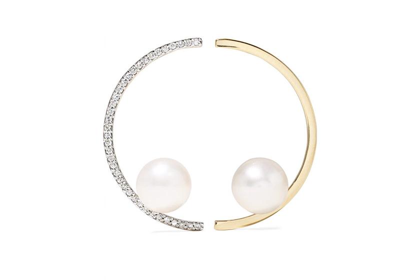 Mateo 14-karat gold, pearl and diamond earrings