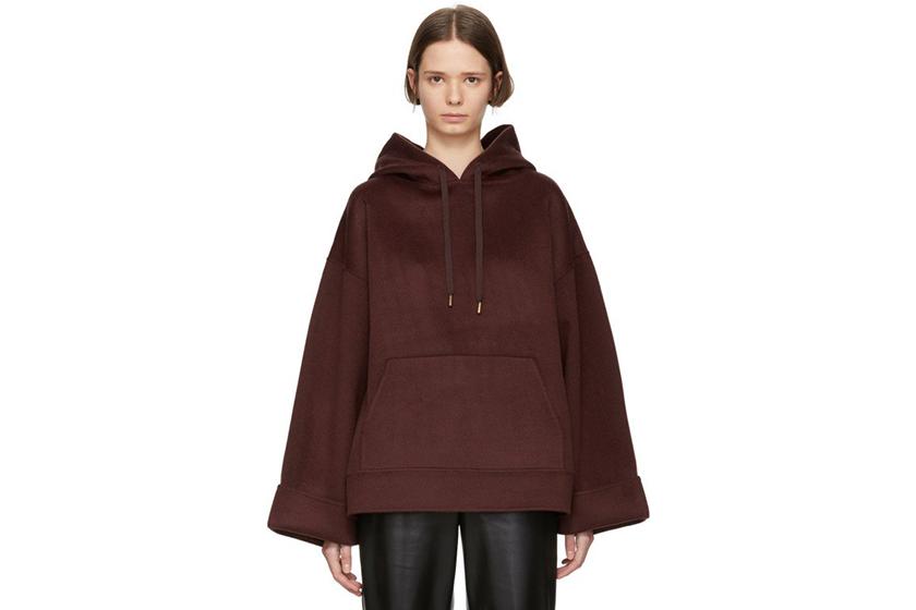 Nanushka Burgundy Wool Luz Hoodie