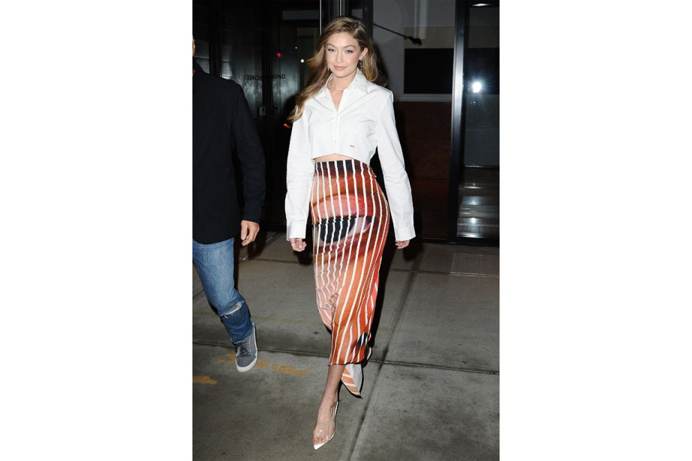 Gigi Hadid White Shirt Skirt Smile