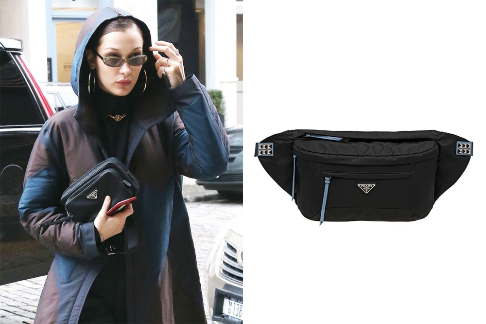 Prada Nylon Belt Bag Bella Hadid Street Style