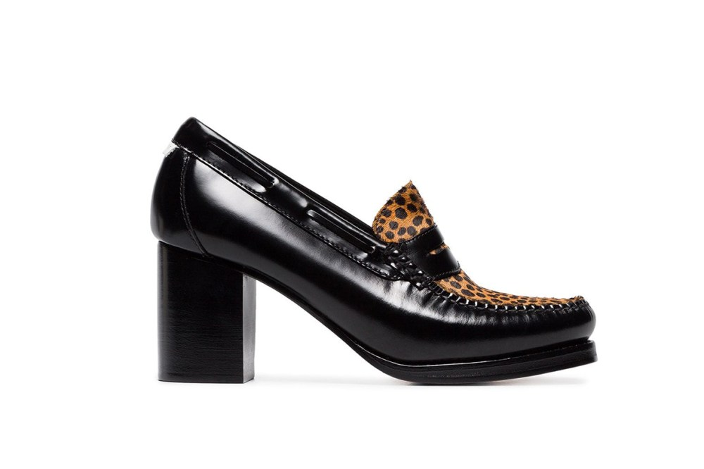 Re/Done Weejuns The Winsome Glossed-Leather and Leopard-Print Calf Hair Pumps