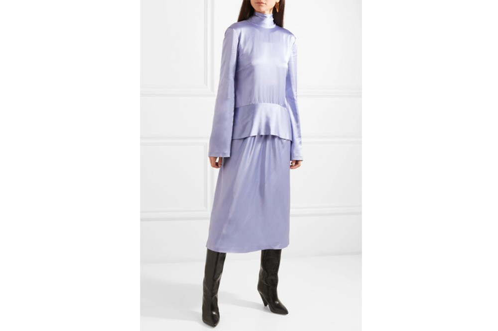 Rūh Open-Back Draped Satin Dress