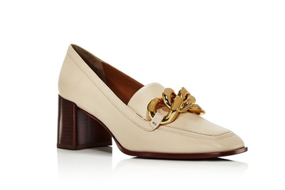 Tory Burch Adrien Square Toe Leather High-Heel Loafers