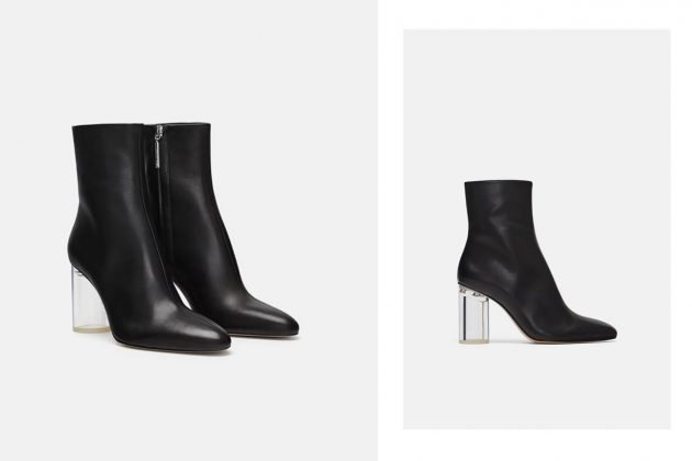 Zara 透明鞋跟真皮短靴 HKD899