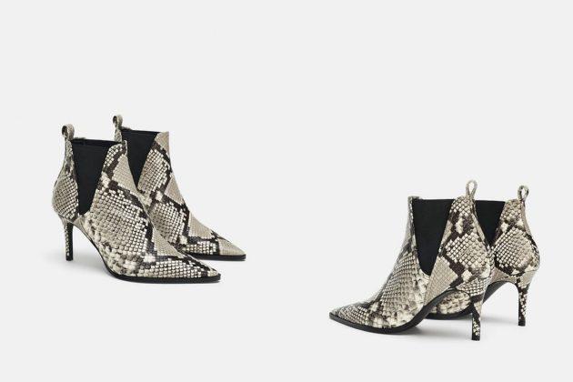 Zara 蛇紋印花真皮高跟踝靴 HKD999