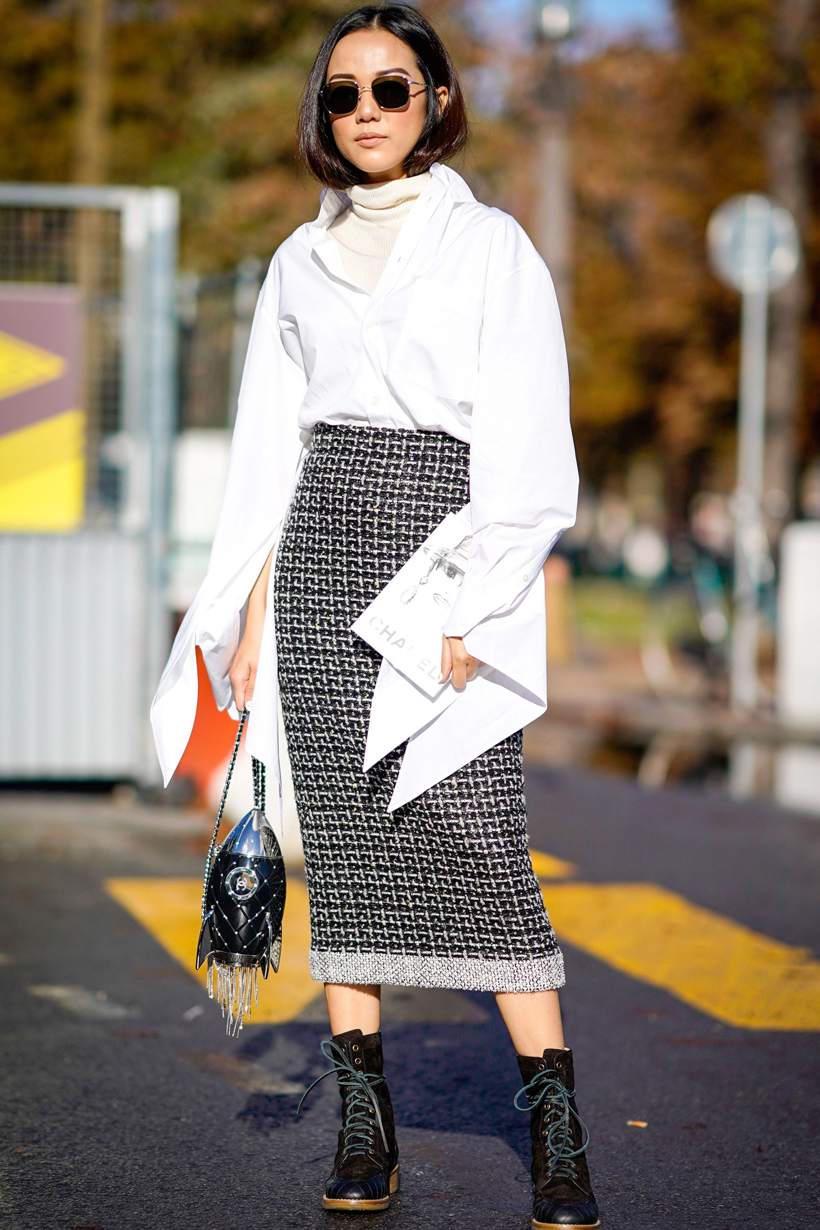 midi skirts v neck office lady working style inspiration