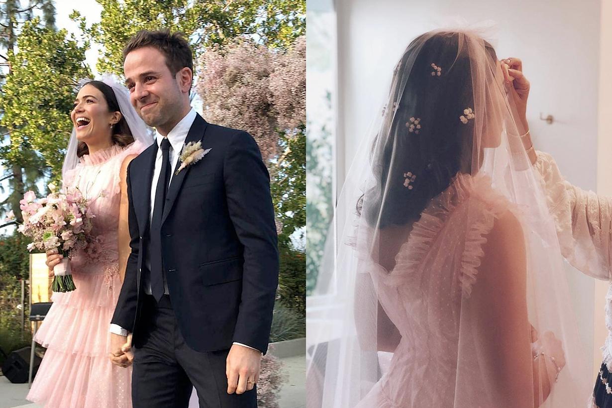 mandy moore rodarte pink wedding gown