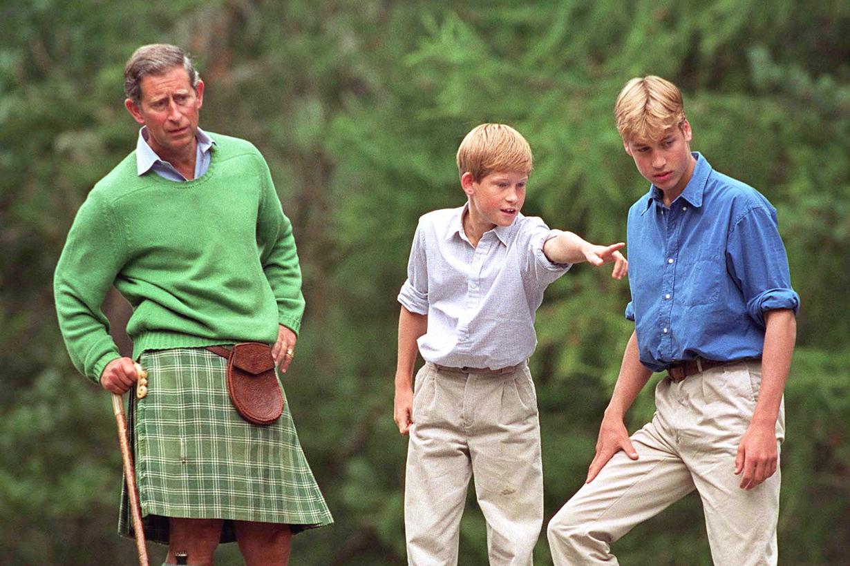 Prince Charles Prince William Prince Harry Picking up rubbish trash royal activity vacation British Royal Family