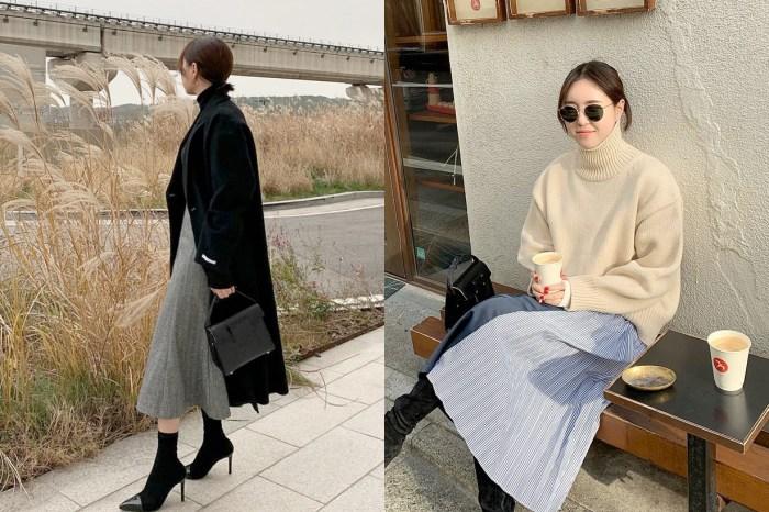冬季穿膩長褲了嗎?讓這個韓國女生示範,發現長裙比牛仔褲還百搭!