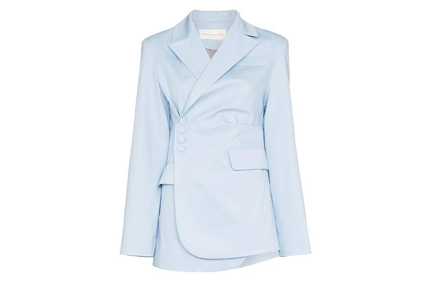 Aleksandre Akhalkatsishvili Asymmetric Side Button Cotton Blazer