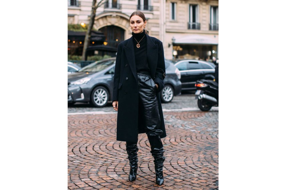 All Black Celine Necklace Street Style
