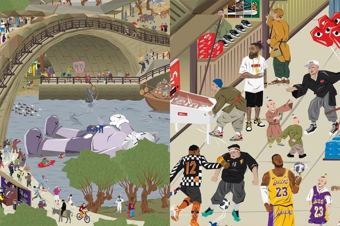 古代人「炒波鞋」?香港藝術家畫出潮爆《清明上河圖》!
