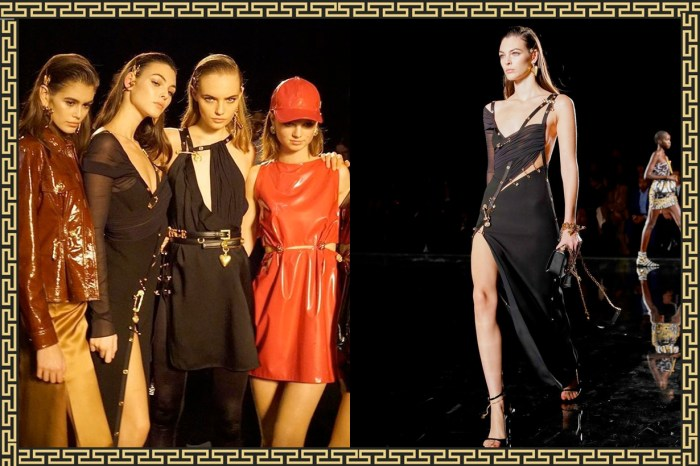 終將過去:Versace 最後一場秀,帶回了 20 年前最經典的別針洋裝!