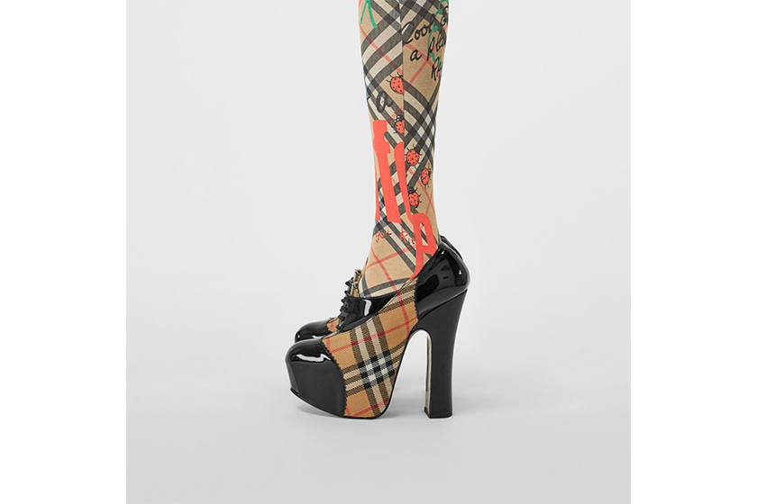 Burberry and Vivienne Westwood Vintage Check and Patent Lace-up Platforms