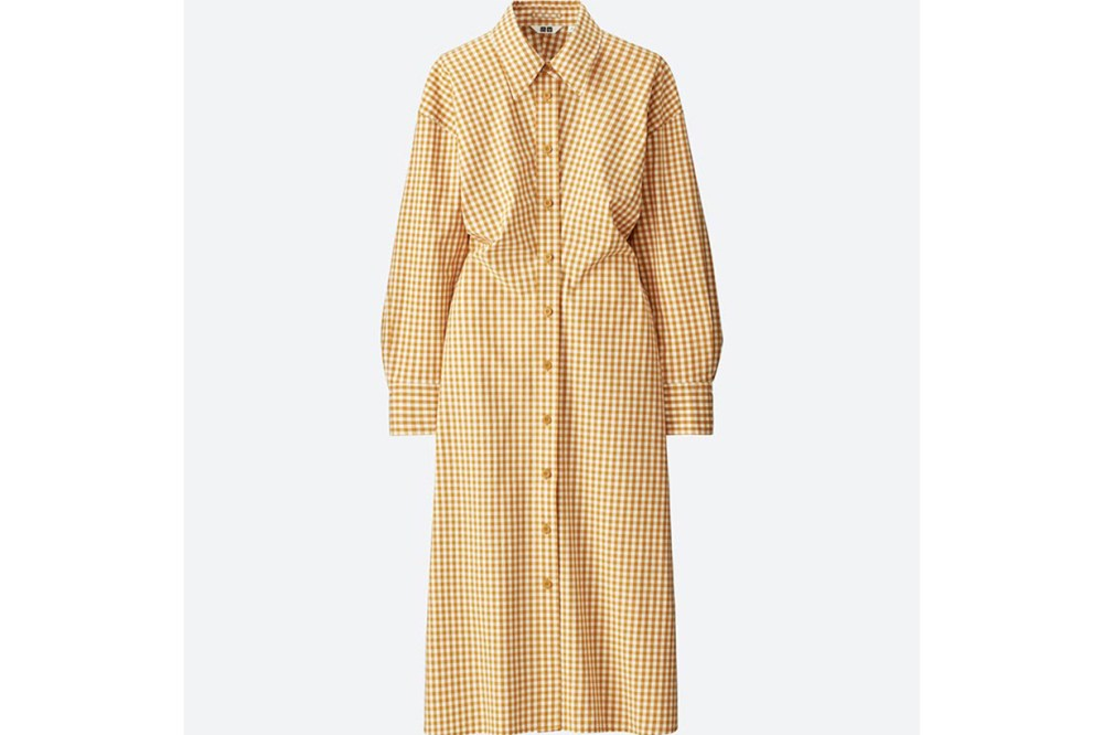WOMEN U CHECK SHIRT LONG-SLEEVE DRESS