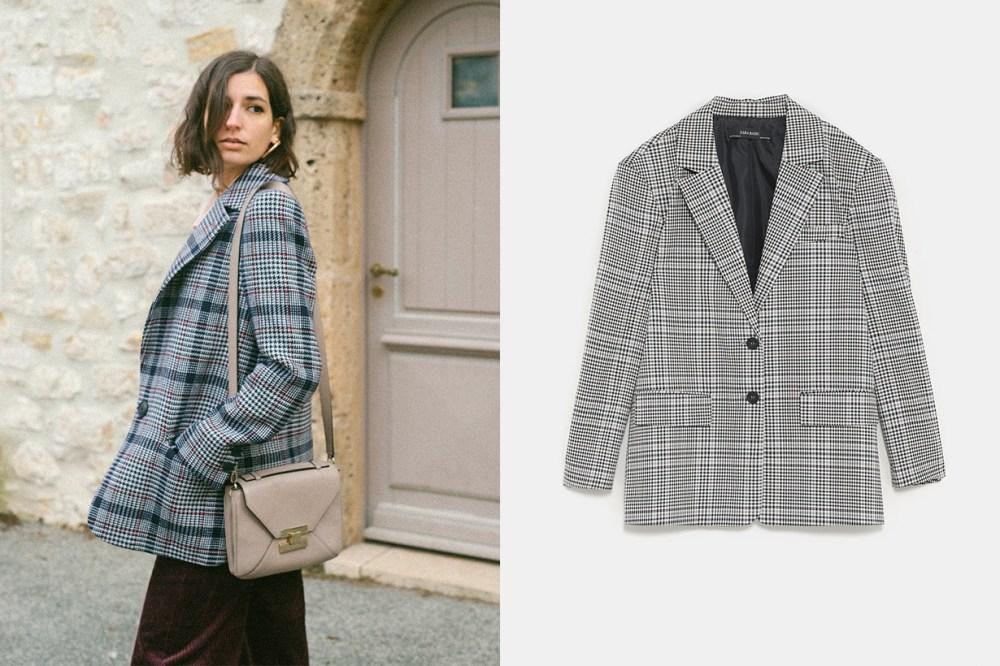 French Blogger Zara Check Blazer