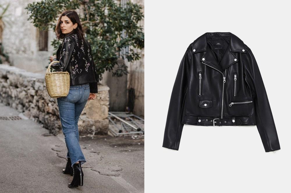 French Blogger Zara Leather Jacket