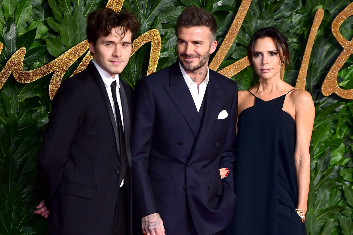 David Beckham Victoria Beckham Brooklyn Beckham British Fashion Awards 2018 Royal Albert Hall Cindy Crawford Rande Gerber Kaia Gerber Presley Gerber Celebrities Families