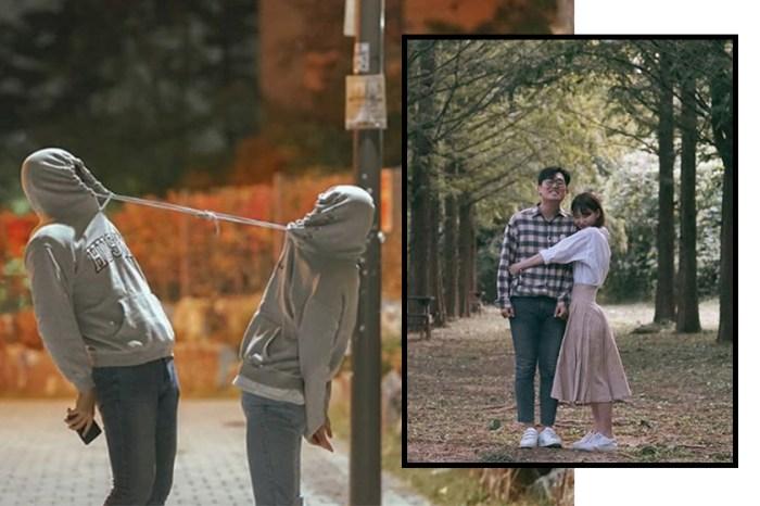 情侶照就要這樣拍!跟著這對韓國拍出抓著人眼球的另類放閃照!