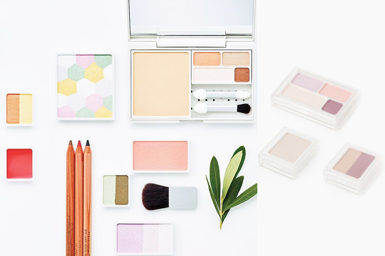 Muji Mix and match cosmetics makeup palette eyeshadows compact powder foundation highlighter blush japanese cosmetics