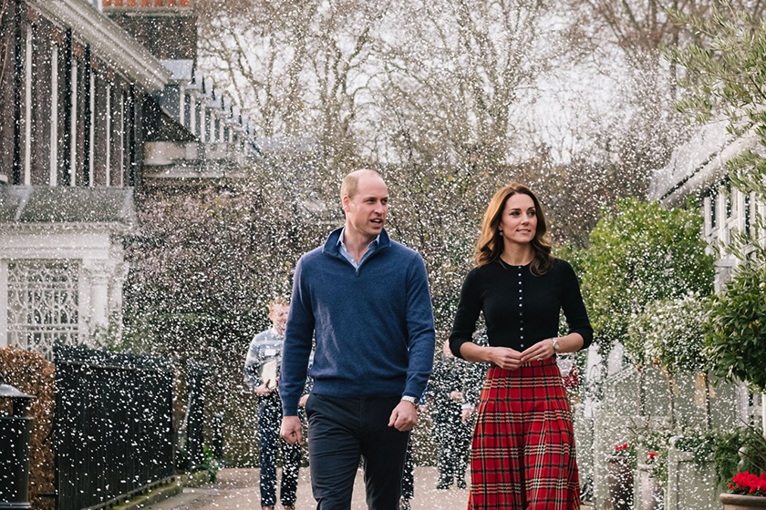 prince william kate middleton snowball fight christmas party
