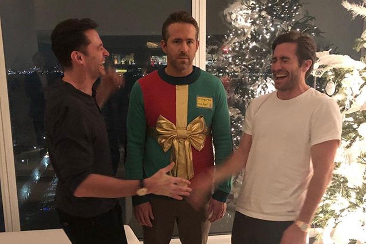 Ryan Reynolds wear christmas ugly sweater 2018