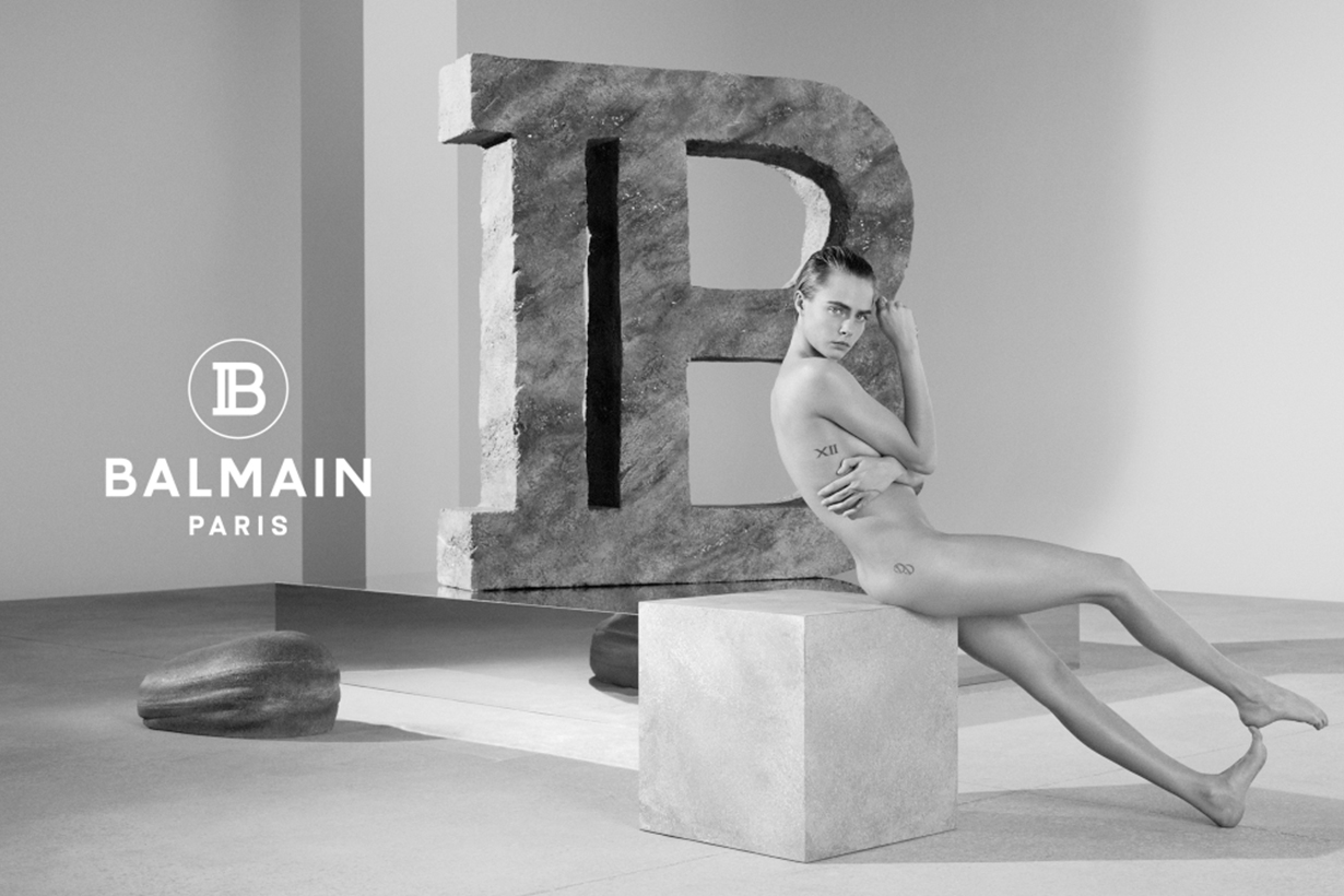 cara delevingne and olivier rousteing topless Balmain 2019 new Campaign