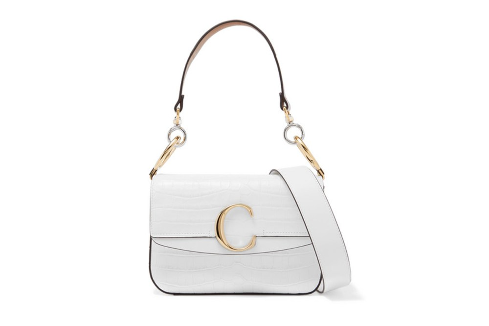 Chloé C small leather-trimmed croc-effect shoulder bag