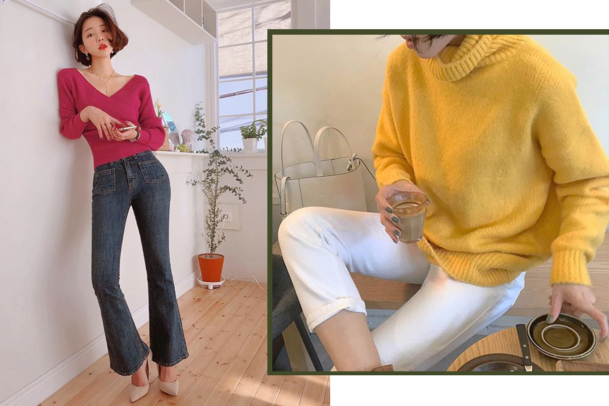 colorful knitwear style for asian girls