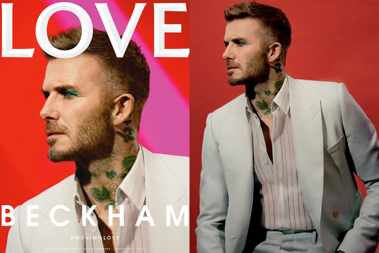 david beckham make up love magazine cover