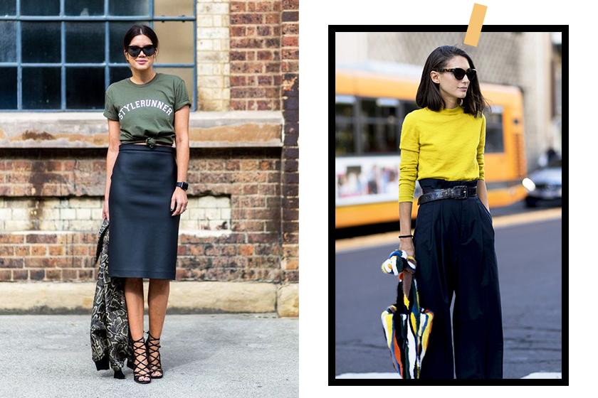high waist skirt street style.