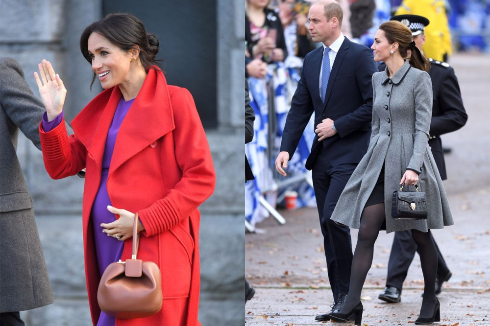 Meghan Markle Red Purple Outfits Kate Middleton Handbags
