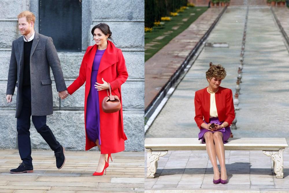 Meghan Markle Princess Diana Purple Red Outfits
