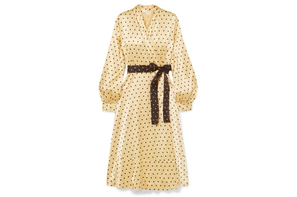 Stine Goya Reflection Polka-Dot Satin Midi Wrap Dress