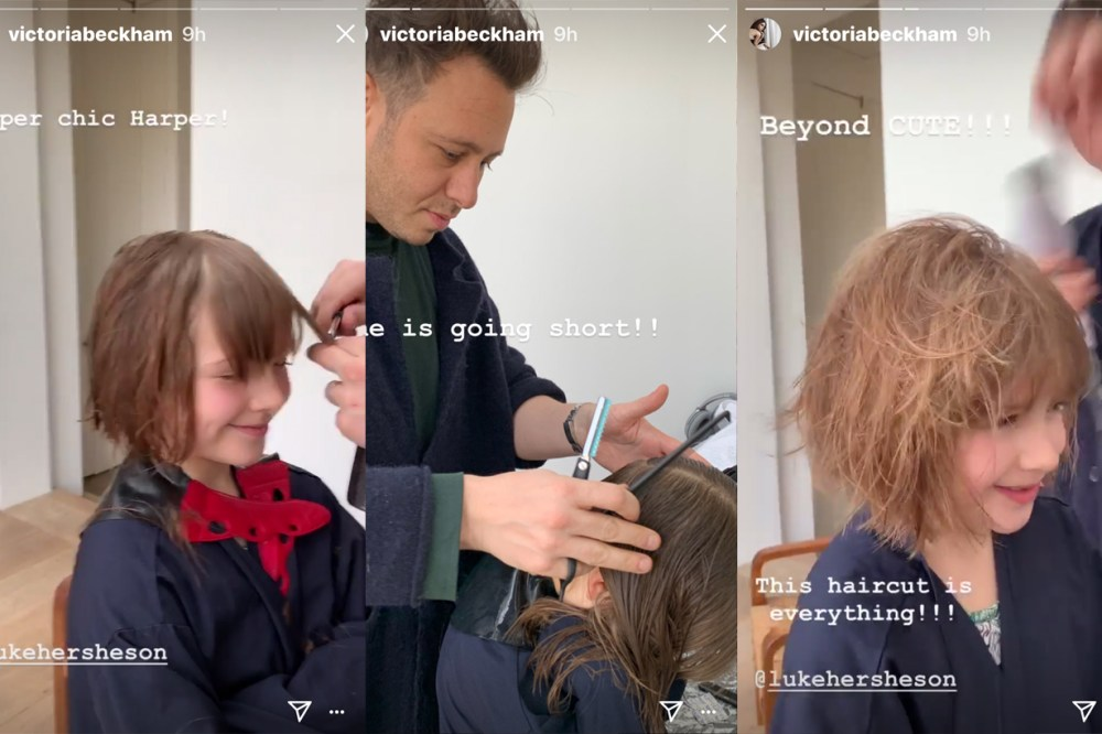 Victoria Beckham Harper Seven Baby Facial Dr Sturm Vampire Facial Kim Kardashian Hair Cut Short bob hair