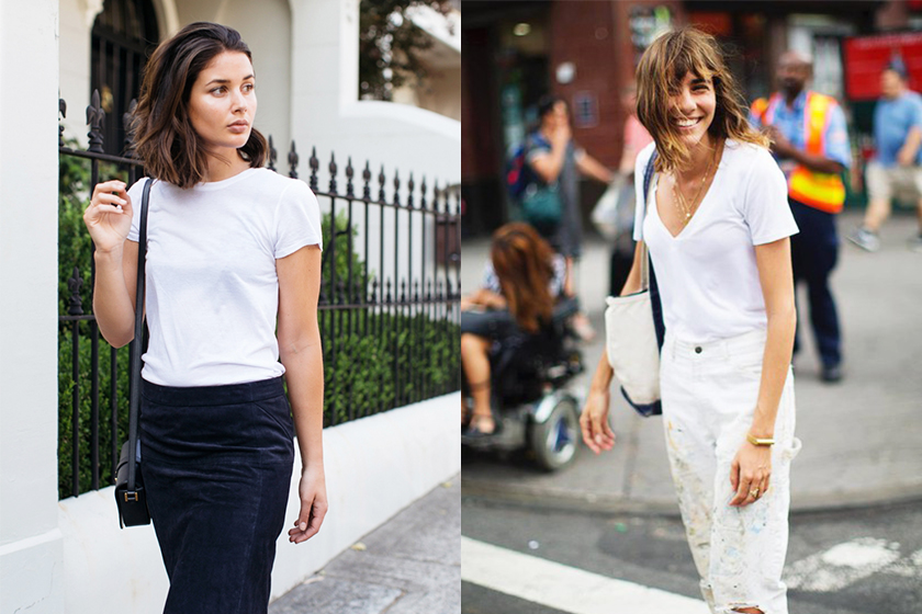 white-T-shirt street style