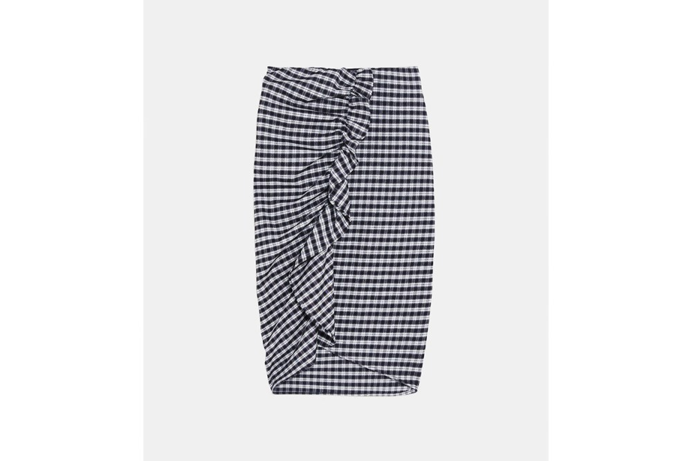 Zara Checked Ruffled Skirt