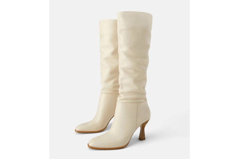 Zara Leather Boots with Wood Effect Boots