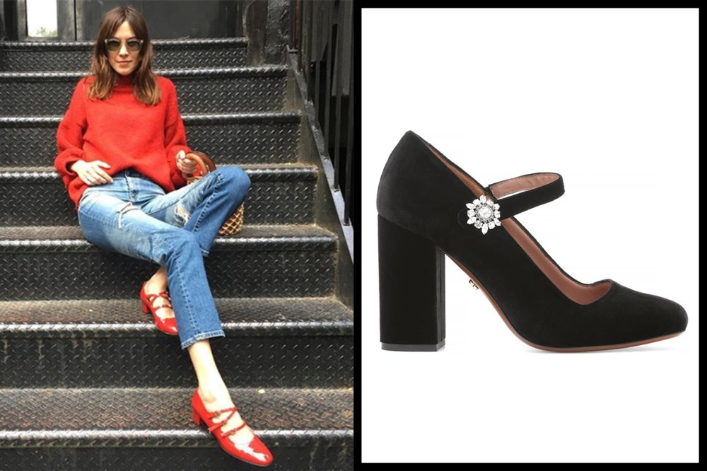 AlexaChung Velvet Mary Jane Pumps
