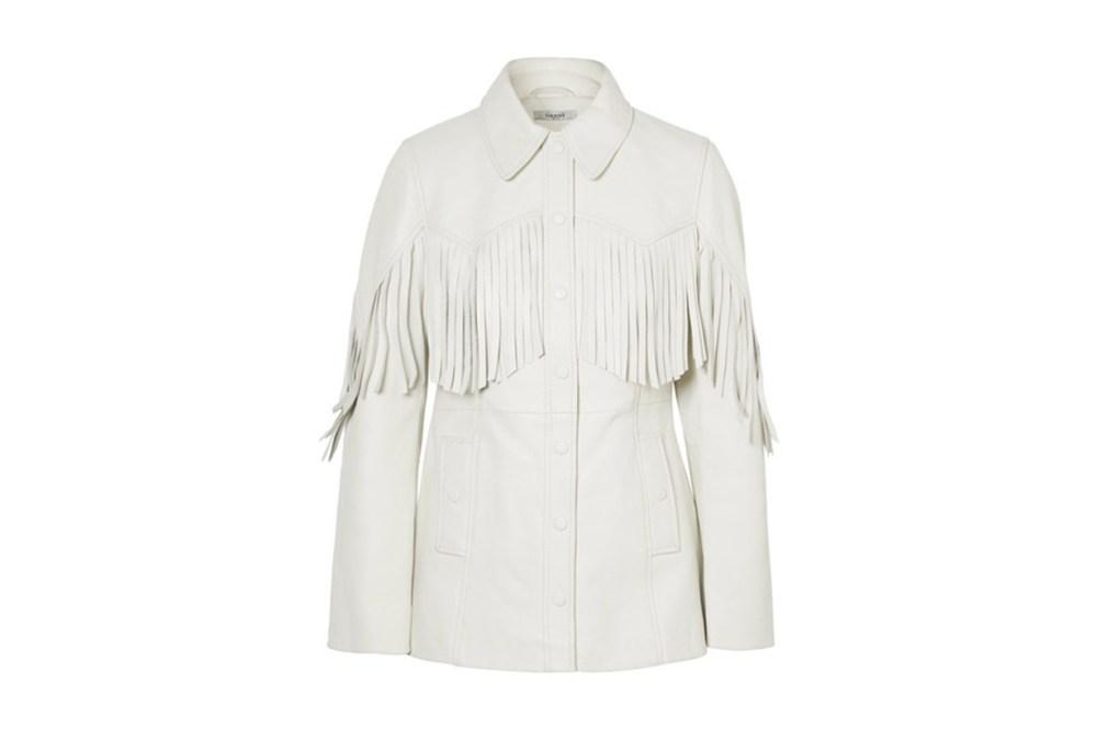 Ganni Angela fringed textured-leather jacket