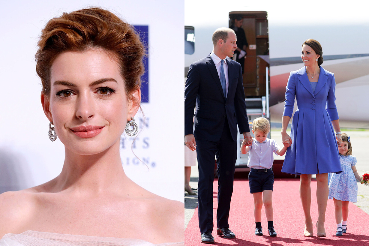 Anne Hathaway Prince William Kate Middleton Parenting Tips  The Sunday Times Style Magazine Jonathan Rosebanks Adam Shulman Prince George Princess Charlotte Prince Louis Hollywood oscar actress british royal family