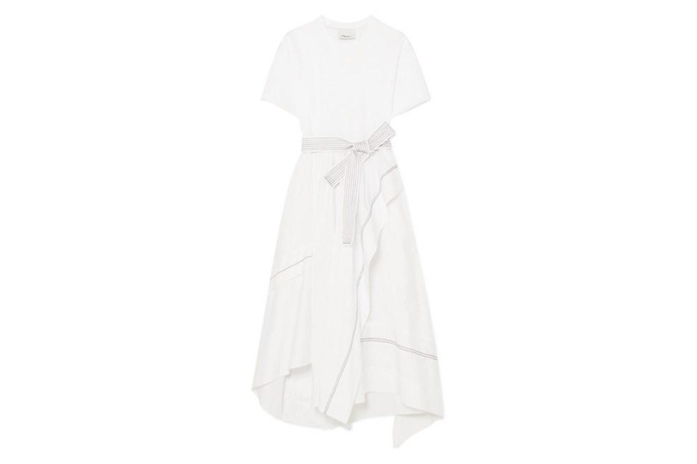 Asymmetric Belted Cotton-Poplin Dress