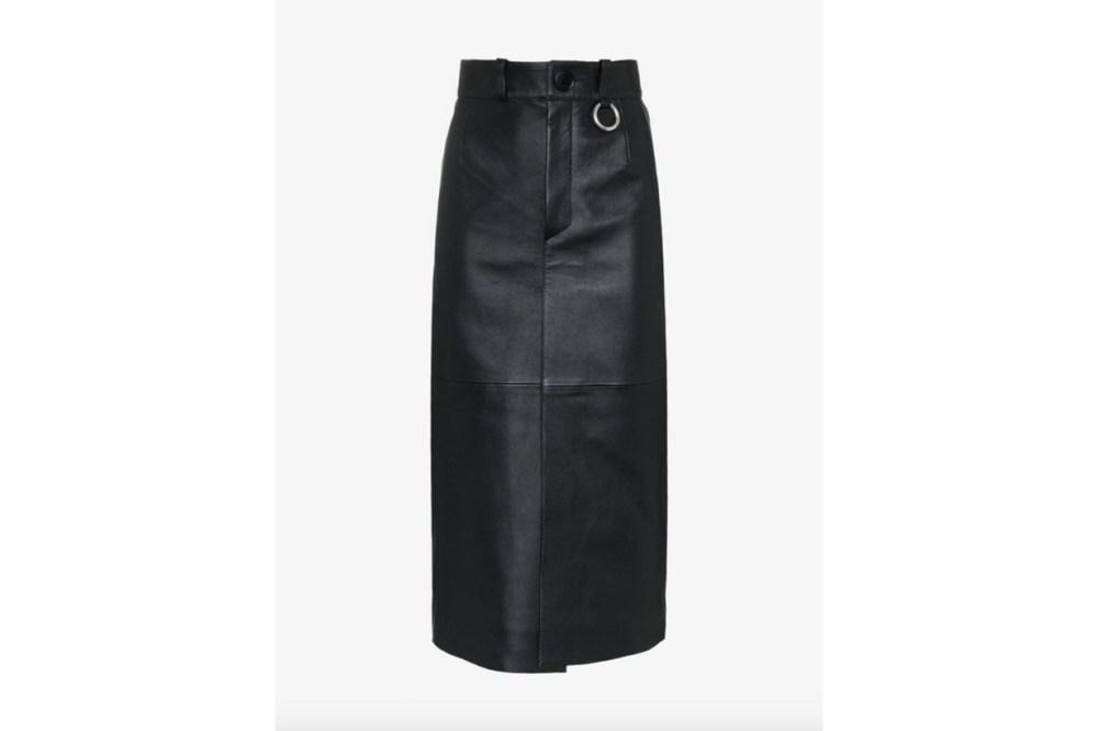 Balenciaga High Waisted Leather Midi Skirt