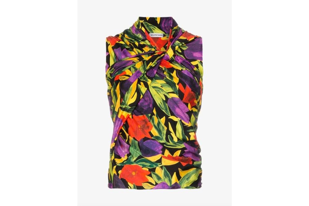 Balenciaga Sleeveless Floral Print Top