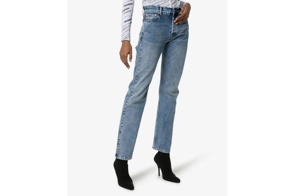 Balenciaga Slim Fit Rip Detail Jeans