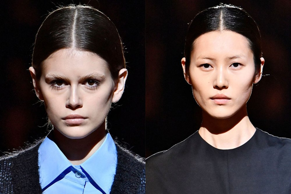 Gigi Hadid, Cara Delevingne walked the prada runway without eyebrows