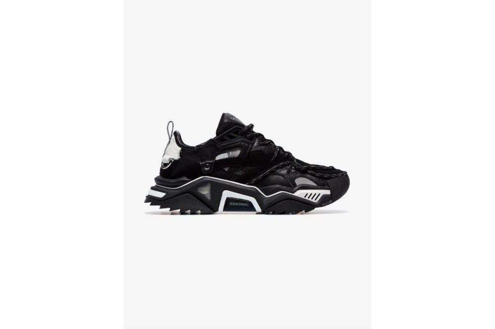 Calvin Klein 205W39nyc Black Strike Chunky Mesh And Leather Sneakers